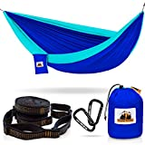 Traveler Fantasy Single/Double Camping Hammock, Durable Nylon Parachute Portable Ultraweight Hammock, Backpacking, Beach, Yard, Swing, Super Strong Straps & Carabiner (Sky Blue with Seafoam)
