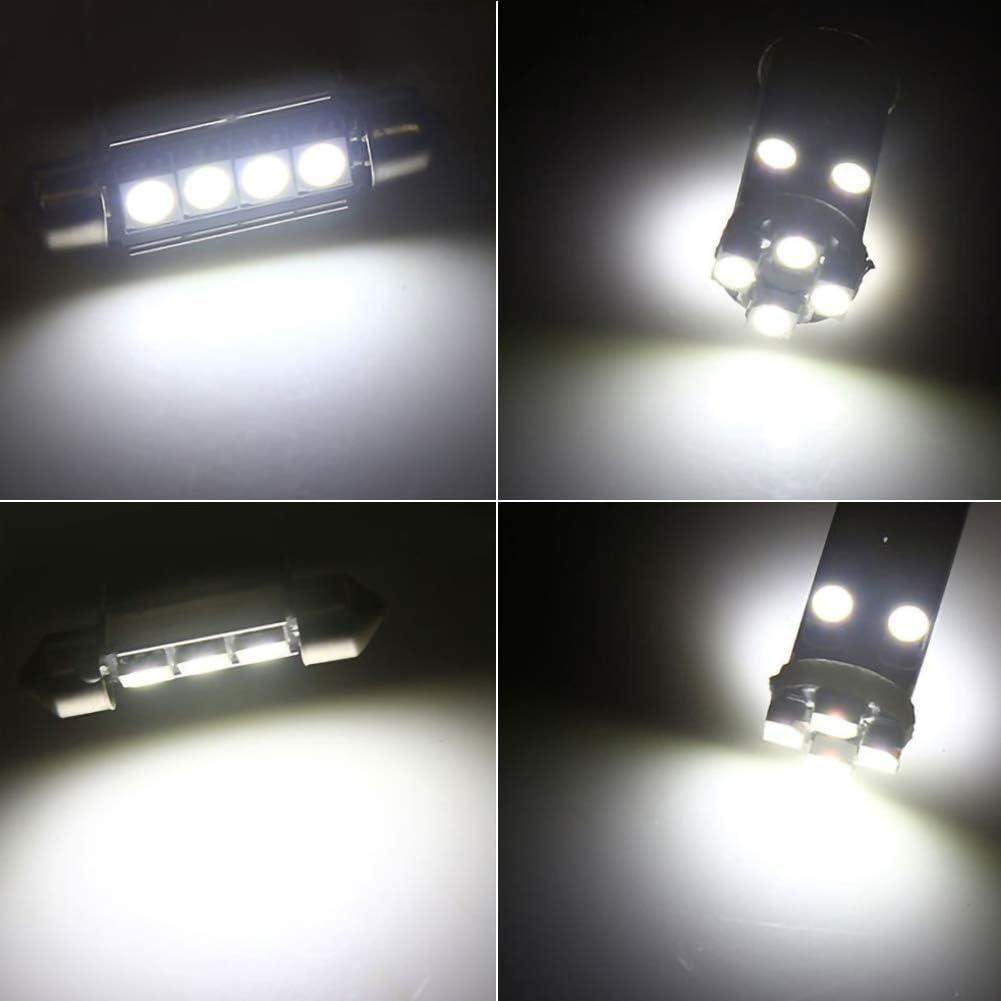 PoeHXtyy 23 PCS Can-Bus sans erreur LED SMD Kit dampoules Set Pi/èces de rechange pour voiture Int/érieur D/ôme Carte Porte Courtoisie Licence Plaque Lumi/ères Feston