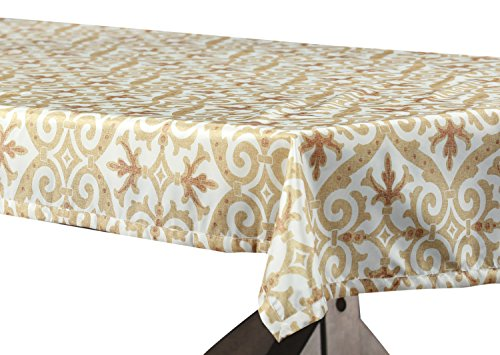 - PTPCH-170802B-TC-120 Iron Gate Designer Faux Silk Taffeta Table Cloth, Gold, 54 x 120