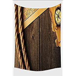 Nalahome-Compass Decor Collection Antique Brass Compass and Rope Over Old Map on Wooden Timber Table Illustration Brown Gold Tapestry Wall Hanging Wall Tapestries 10L x 8W Inches
