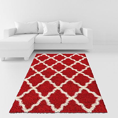 Soft Shag Area Rug 3x5 Moroccan Trellis Red Ivory Shaggy Rug - Contemporary Area Rugs for Living Room Bedroom Kitchen Decorative Modern Shaggy Rugs (Kitchen Room Rugs)