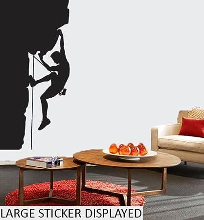 De escalada en roca de silueta de - patrones e instrucciones para hacer - cuadro decorativo de pegatinas de vinilo de 58 cm x 30 cm negro