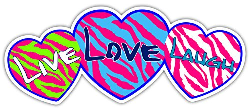 Live Love Laugh Pink Teal Lime Green Hearts Zebra Pattern Sticker Decal 3x8 inches