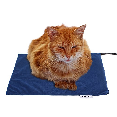 "CISNO Pet Heating Pad for Small Dogs Cats with Fleece Covers Medium Size 12X16"" 15Watts"