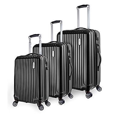 TravelCross Oakland Luggage 3 Piece Lightweight Spinner Set - Black