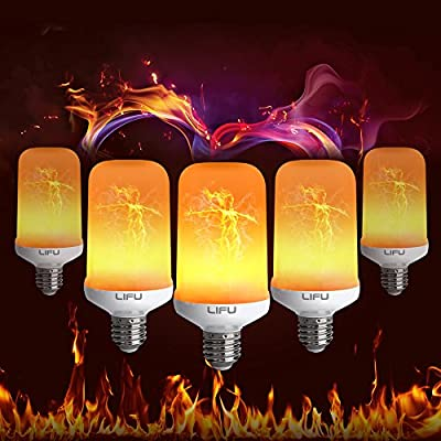 Flame Bulb, LIFU E26/ E27 LED Flame Effect Fire Light Bulbs for Decoration Lighting on Christmas Halloween Holiday Party
