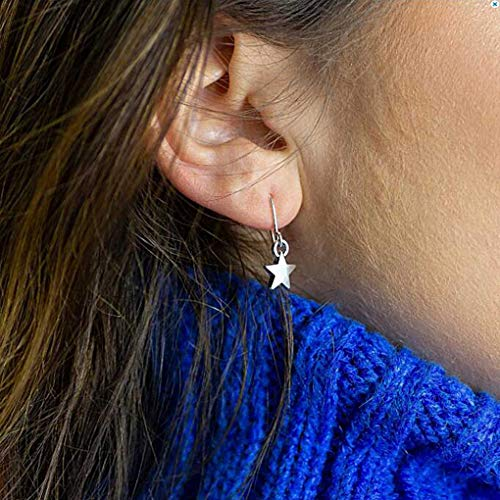 (LittleB Dainty Earrings Star Pendent Thin Earrings for Women and Girls (Silver) )
