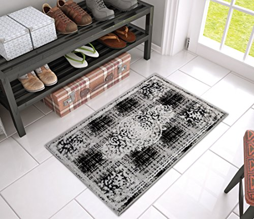 Tribeca Medallion Grey French Distressed Modern Classic European Border Area Rug 2x3 ( 1'8