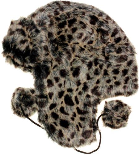 (AN Women's Leopard Plush Faux Fur Trooper Trapper Ski Hat - French grey - One)
