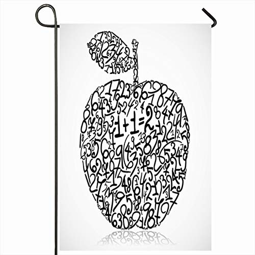 Ahawoso Outdoor Garden Flag 12x18 Inches Sketch Mathematics Apple Made Numbers Abstract Fruit Math Black Numerology Character Count Genius Home Decor Seasonal Double Sides House Yard Sign Banner (Best House Number Numerology)