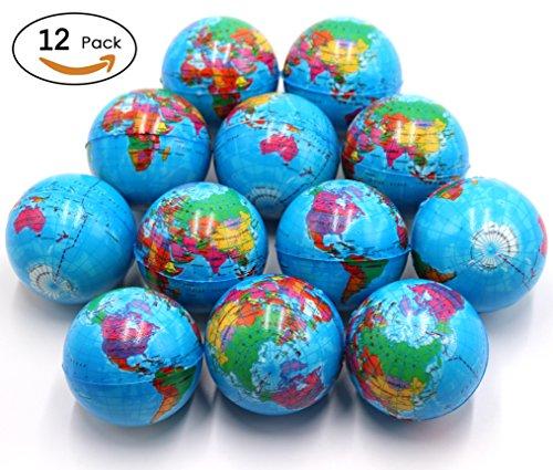 Ball Foam Mini (FIVOENDAR Set of 12 - Mini Globe Planet Earth Soft Foam Stress Ball Toy Bulk Educational Hand Wrist Stress Reliefs Squeeze Balls for Kids, School, Classroom, Party Favors - (2.5