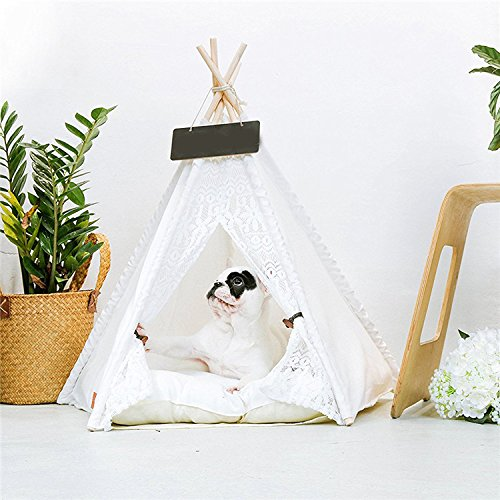 Only Tent 70X60cm Only Tent 70X60cm Cookisn New Kawaii White Lace Pet Tent Dog House Dog Bed Pet House Tent Wood Kennel Puppy Dog Cat Bed House with Mat Pet Supplies Pads Only Tent 70X60cm