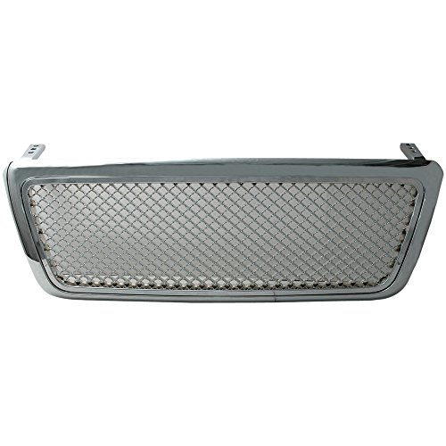 (Grille Fits 2004-2008 FORD F150   Mesh Style ABS Chrome Front Bumper Hood Grill by IKON)