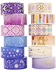 Washi Tape Set Gold Foil Skinny Masking Tape Decorative Pack for DIY Scrapbooking, Crafts, Gift Wrapping, Holiday Decoration