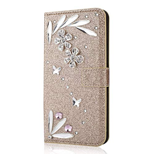 Sparkle Diamond Wallet Case for Samsung Galaxy J3 2018,Shinyzone Handmade 3D Feather Design-Gold Glitter PU Leather Book Flip Cover for Samsung Galaxy J3 2018 by Shinyzone