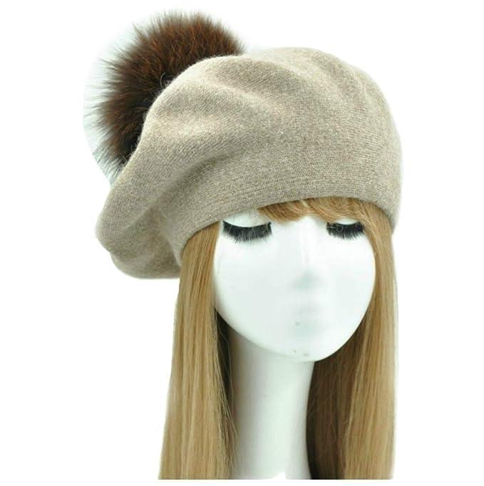 BrillaBenny Basco Berretto Donna Cashmere e PON PON Pelliccia MURMASKY Cappello  Cappellino Cuffia Ragazza Hat Berets Fur Woman Kids Pom Pom Luxury (Beige)   ... eb7eb6860f95