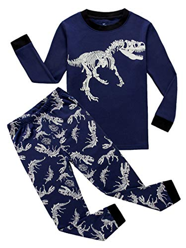 KikizYe Dinosaur Little Boys Long Sleeve Pajamas 100% Cotton Sleepwear Toddler Size 4T (4t Clothes Boys)