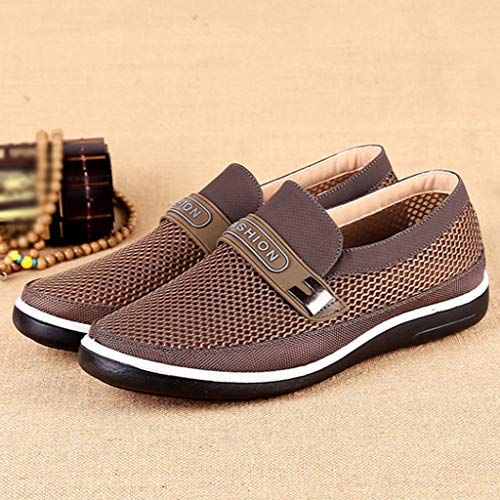 d9913b19a3719 JJLIKER Men's Summer Breathable Mesh Casual Walking Shoes Comfort Driving  Loafers Slip Ons Flat Penny Boat Moccasin Shoe