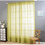 Polyester yarn Linen Solid Color Half shading Living room bedroom The finished product Wear bar Window Curtains 1 Panel , green , 200*270cm