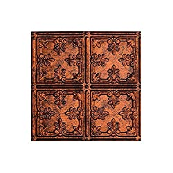 Fasade - 2ft x 4ft Traditional 10 Moonstone Copper Glue Up Ceiling Tile / Ceiling Panel - Fast and Easy Installation (12