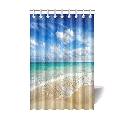 InterestPrint Beach Ocean Theme Shower Curtain, Wavy Ocean Surface Scenery Polyester Fabric Mildew Resistant And Waterproof Bath Curtains, 48 By 72 Inches, Blue Turquoise Sand