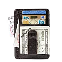 Teemzone Genuine Leather Money Clip Front Pocket Wallet with Magnet Clip Card Id Case (Coffee IDWindow)