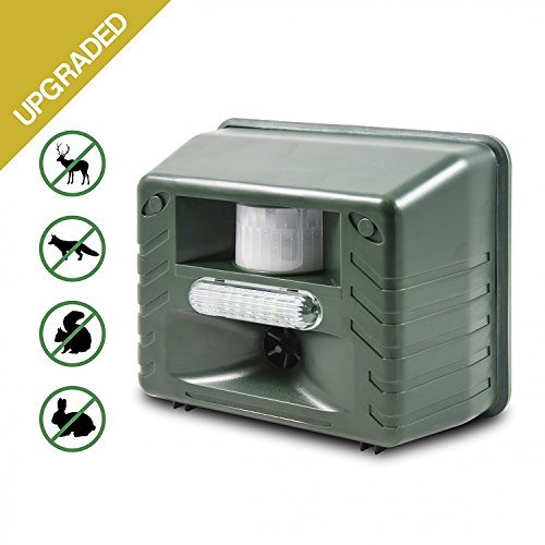 Aspectek Ultrasonic Outdoor Animal Repellent Motion Activated with Strobe LED Light for Rodents Deer, Cats, Dogs, Foxes, Mice, Birds, Skunks, Etc, Green