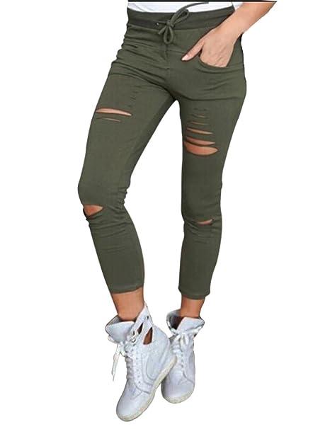 630fac1f1a92 Damen Jeans Stretch Hose zerrissen High Waist Jeanshose Skinny Hochbund Hose  (s, grün)