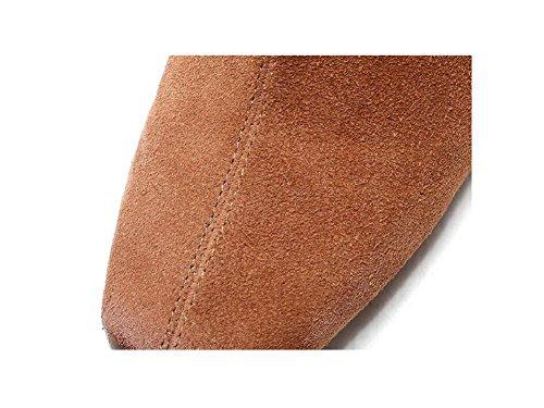 39 Bootie nabuk Autunno nudo stivali inverno pelle in scarpe breve con testa delle Piazza camoscio brown spessa alto con donne xYgqYHr7w