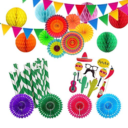 Fiesta Party Supplies, Mexican Decorations, Cinco De Mayo, Hanging Paper Fans, Pennant Banner, Honeycomb Balls, Paper Fans, Photo Props, Straws for Birthday Parties, Wedding, Graduation,