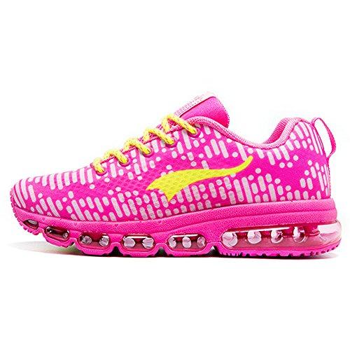 Onemix Air Hombre Mujer Zapatos para Correr Respirable Deportes Zapatillas de Running Rhythm Unisex Adulto Rosado