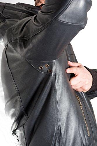 Bomber Maglia Con Da Uomo Elegante Classic Pelle Cappuccio Vera Vintage Nero wxqp7Yg
