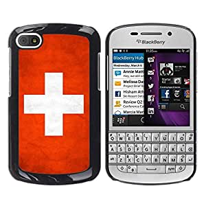 Be Good Phone Accessory // Dura Cáscara cubierta Protectora Caso Carcasa Funda de Protección para BlackBerry Q10 // National Flag Nation Country Switzerland