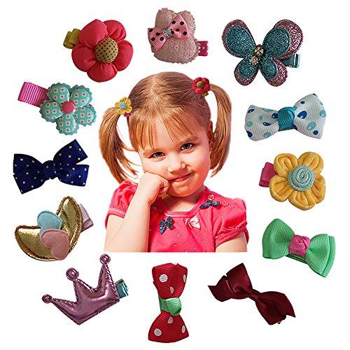 Cheveux Clips Barrettes assorties ruban arcs Style C Series - 12 pièces de spécialement conçu pour bébé, enfant en bas âge et Young Girls