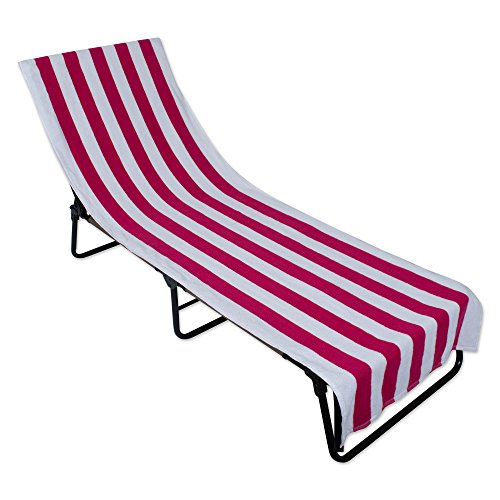 (J&M Home Fashions Stripe Beach Lounge Chair Towel with Fitted Top Pocket (26x82 - Pink) Soft, Absorbent, and Fast Drying for Covering Pool Chairs While Swimming, Lounging, or Tanning)