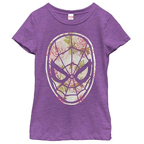 Marvel Girls' Spider-Man Floral Print Purple Berry T-Shirt