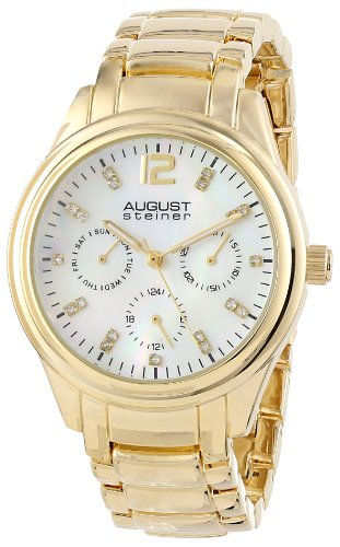August Steiner Women's AS8076YG Quartz Multifunction Crystal Mother-of-Pearl Gold-tone Bracelet Watch