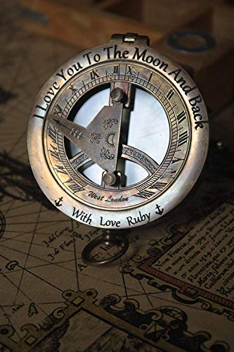 Christmas Personalized Engraved Sundial Compass, Get Well Soon Unique for Dad Gift for All Occasions New Year Wedding Anniversary Love Gift Graduation