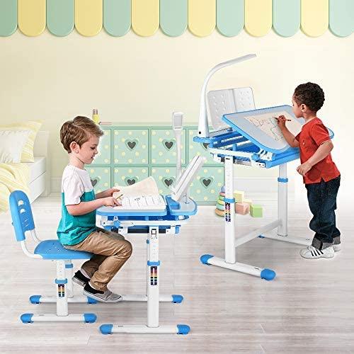 LAZY BUDDY Kids Desk And Chair Set, Height Adjustable Children Study Table With Wood Tiltable Anti-Reflective Tabletop, Bookstand, Pull-Out Drawer Storage And Touch Led For School Students
