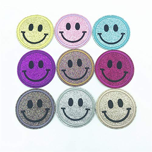 Smile Face Shiny Patches Circle Cartoon Stickers DIY Embroidery Clothes Decoration Sewing Iron Patch 2.52x2.52 Inch of 9pcs ()