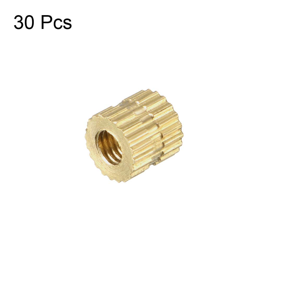 x 8mm Female Thread Brass Embedment Nuts uxcell Knurled Threaded Insert L OD Pack of 10 1//4-20 x 6mm