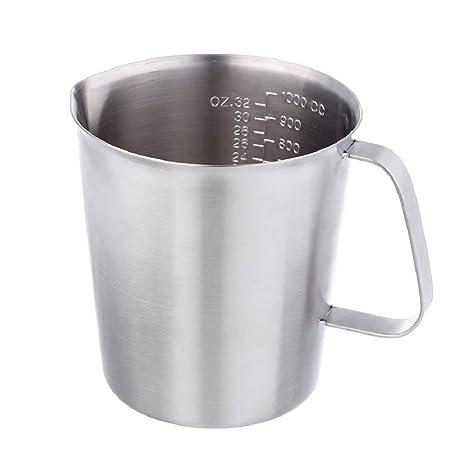 Vaso Medidor Jigger de Leche - KitchCater - 1000ml 34oz Espesamiento Acero Inoxidable Aumentado Marcas Café