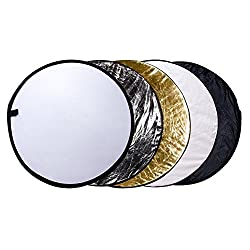 """Etekcity 24"""" (60cm) 5-in-1 Portable Collapsible Multi-disc Photography Light Photo Reflector For Studiooutdoor Lighting With Bag - Translucent, Silver, Gold, White & Black"""