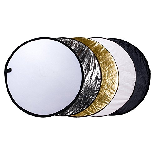 Etekcity 24'' (60cm) 5-in-1 Portable Collapsible Multi-Disc Photography Light Photo Reflector for Studio/Outdoor Lighting with Bag - Translucent, Silver, Gold, White and Black by Etekcity
