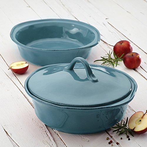 Rachael Ray Cucina Stoneware 3-Piece Round Casserole & Lid Set, Agave Blue by Rachael Ray (Image #4)