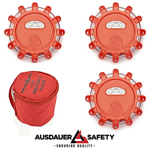 (3 Pack Kit) Red LED Road Flares, Emergency Disc Roadside Safety Light Flashing Road Beacon for Auto Car Truck Boat. Ready for 1 Or 2 Vehicles by AUSDAUER Safety … (3 LED Kit) by AUSDAUER SAFETY (Image #6)