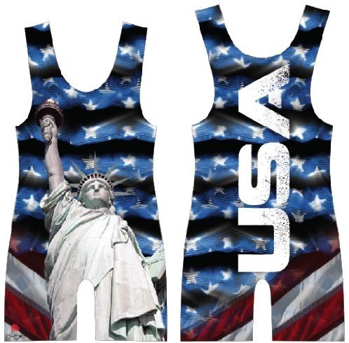 4-Time Blue USA Sublimated Wrestling Singlet size 2XL ()