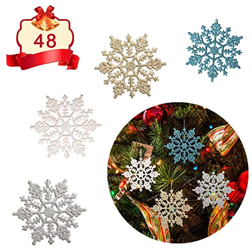 Adeeing Christmas Glitter Snowflake Ornaments, 48 Pieces Sparkling Snowflake Christmas Tree Decorations, 4 Inch, White/Gold/Silver/Blue (Gold Christmas Tree Silver Blue)