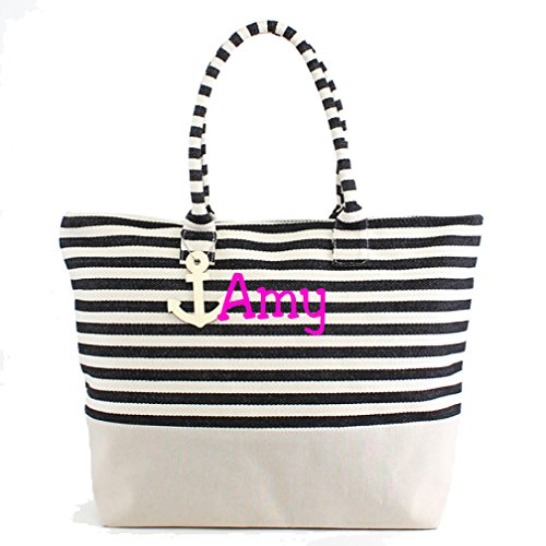 Large Zipper Top Stripe Canvas Look Beach Bag Tote - 22