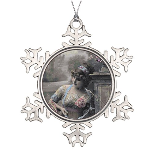 Moc Moc Personalised Christmas Tree Decoration French Flirt - Beautiful Woman Portrait Friendship Snowflake Ornaments Tree Snowflake Ornaments